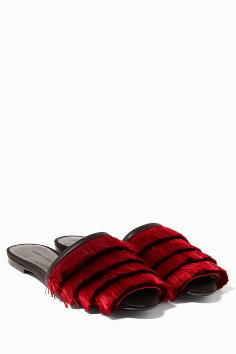 Dark Red Fringed Satin Sandals