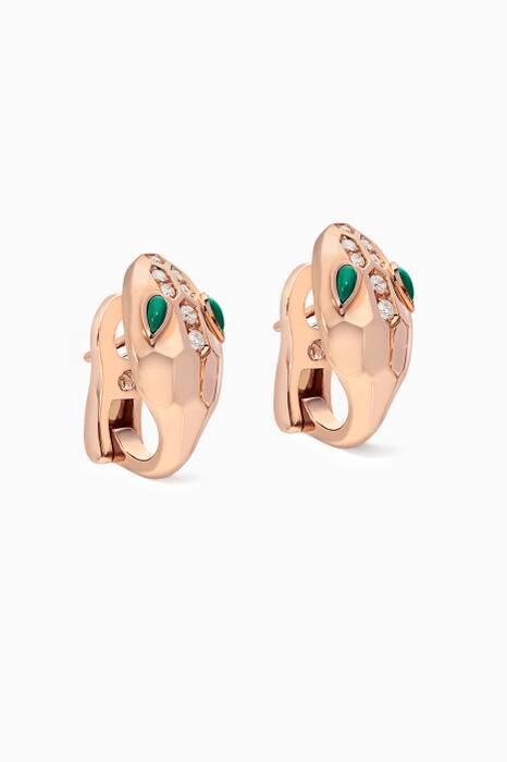 Rose-Gold, Malachite & Diamond Pavé Serpenti Seduttori Earrings