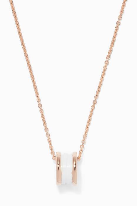 Rose-gold B.zero1 Pendant With White Ceramic Necklace