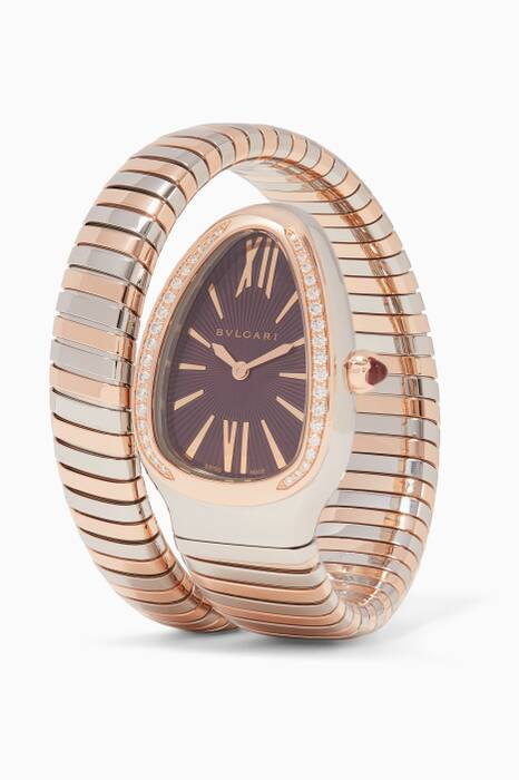 Rose-Gold, Stainless Steel & Diamond Serpenti Tubogas Watch