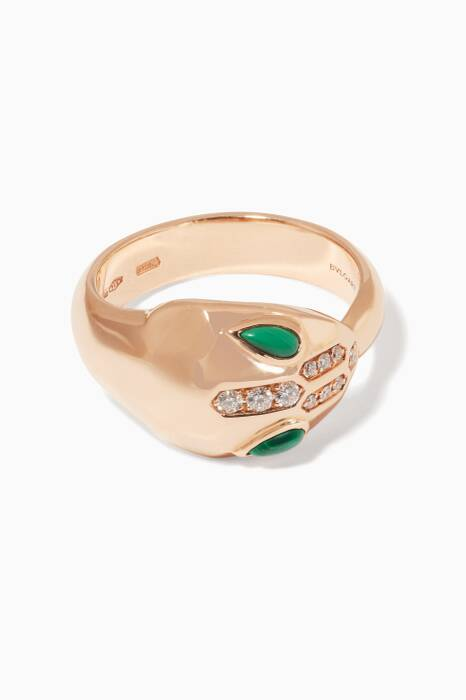 Rose-Gold, Malachite And Diamond Serpenti Seduttori Ring