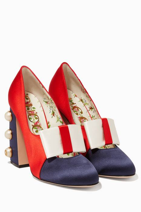 Blue & Red Satin Studded Pumps