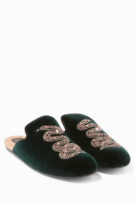 Green Velvet Embellished Slippers