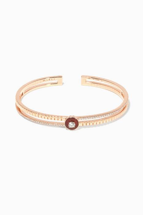 Rose-Gold, Diamond And Red Agate Coco Bangle