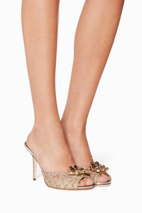 Beige Crystal-Embellished Lace Mules