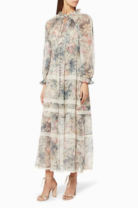 Smoke Floral Cavalier Frilled Neck Dress