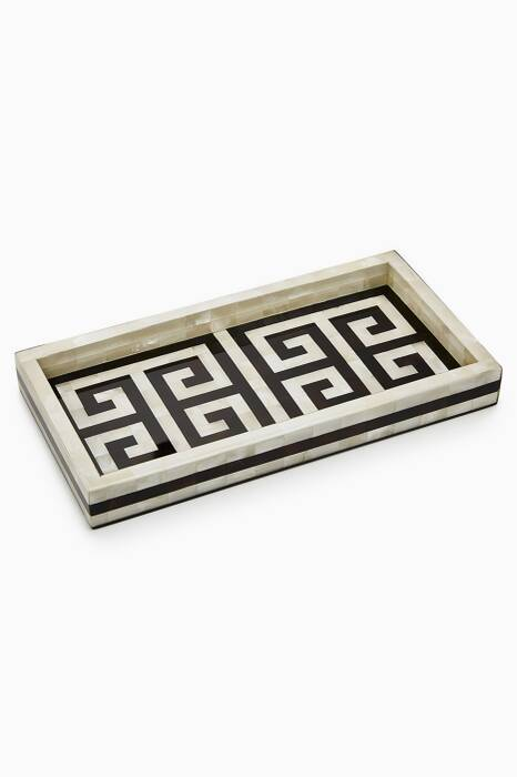 Off-White & Black Greek Key Tray