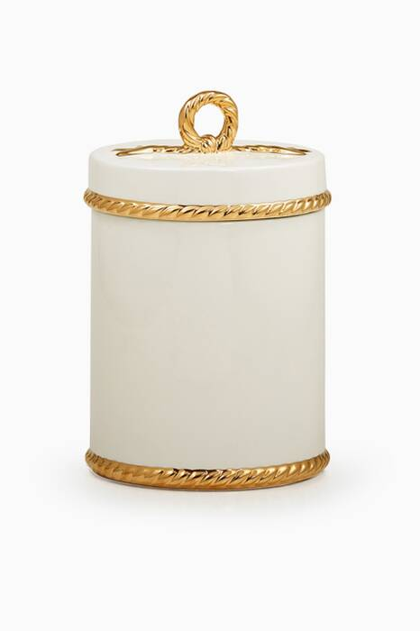 White & Gold Rope Canister