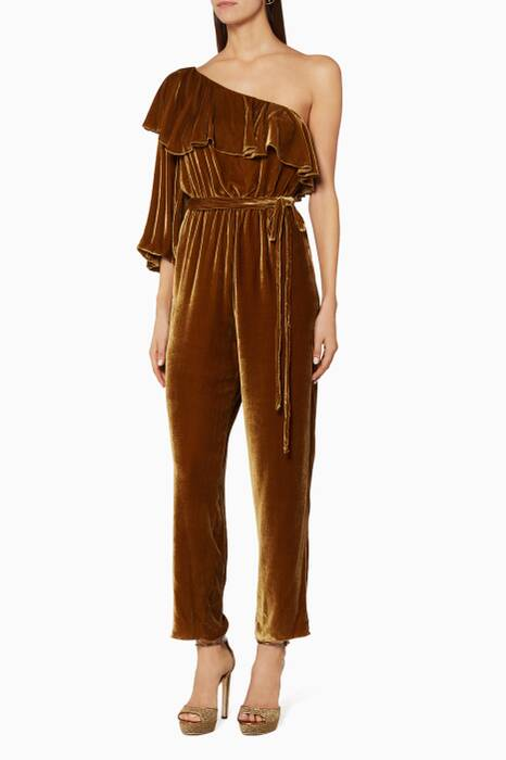 Yellow Mimoza Velvet Jumpsuit