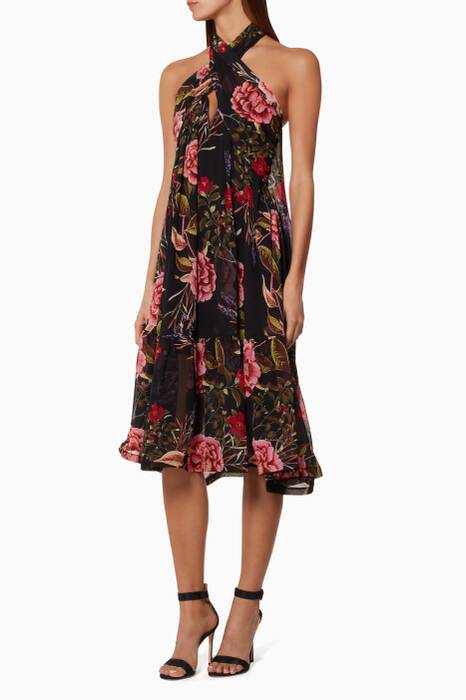 Black Peony Floral Halter Dress