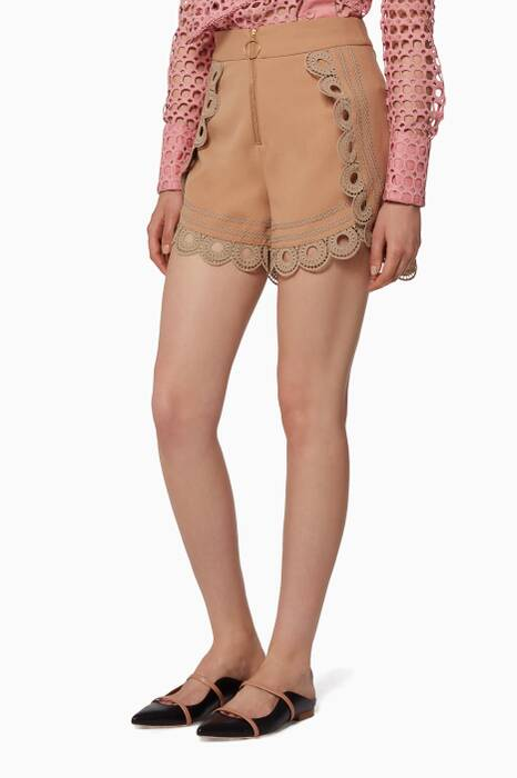 Nude Curved Hem Shorts