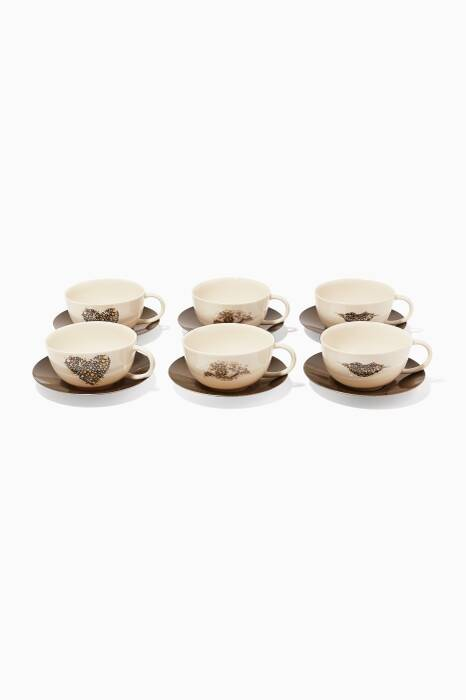 Mosaic Eye & Lip Cappuccino Set Of 6