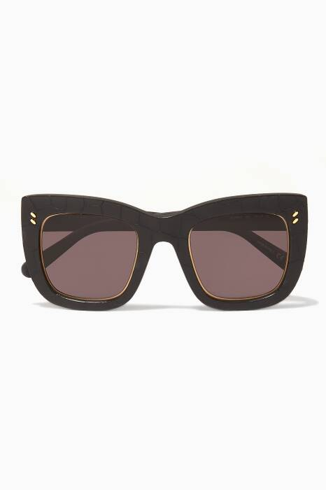 Black Croc-Embossed Sunglasses