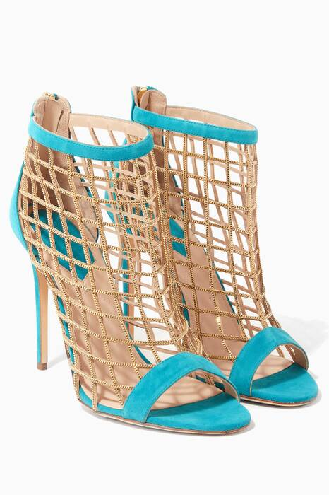 Blue Caged Suede Sandals