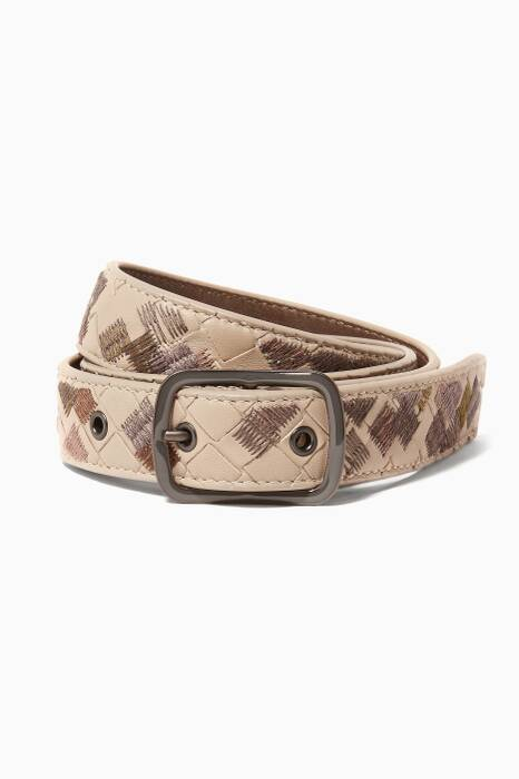 Beige Intrecciato Leather Belt