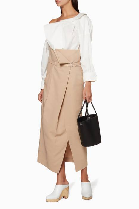 Beige Belted Long Skirt