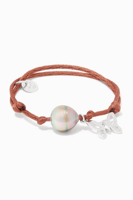 Brown Pearl & Spread Your Wings Charm Bracelet