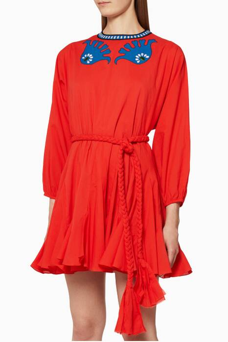 Tomato-Red Embroidered Ella Dress