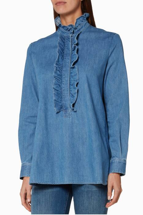 Blue Ruffled Denim Shirt