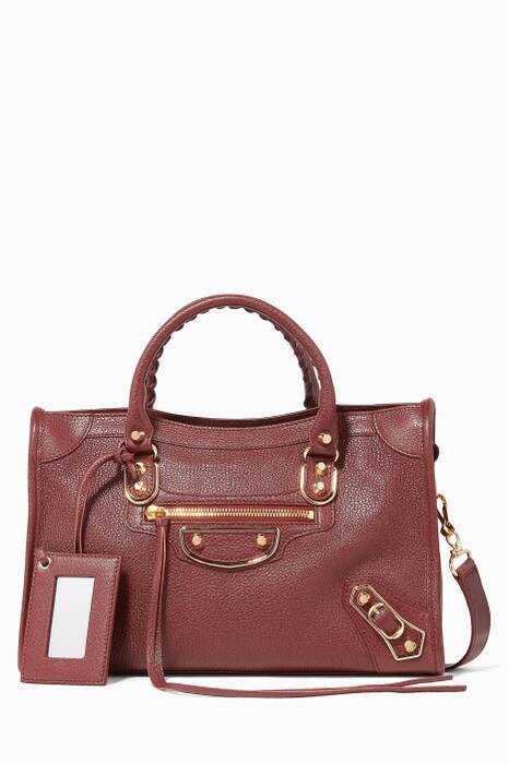 Burgundy Small Classic Metallic Edge City Tote Bag