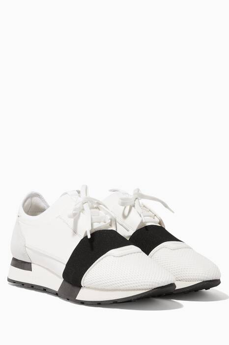 White & Black Race Runner Sneakers