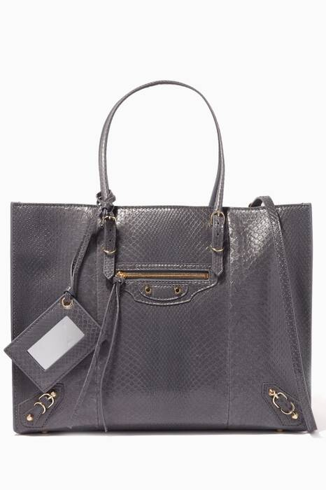 Grey Python Papier B4 Side-Zip Tote Bag