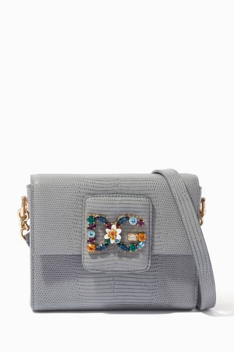 Grey Mini Iguana-Embossed Millennials Shoulder Bag