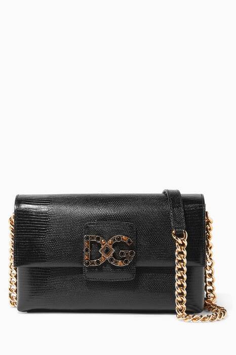 Black Small Iguana Millennials Shoulder Bag