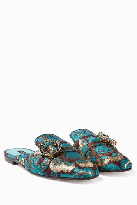 Turquoise Jacquard Jeweled Brooch Jackie Slippers