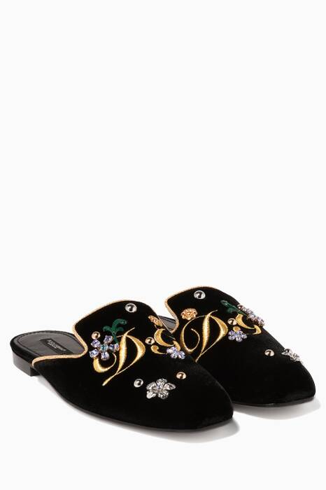 Black Jackie Velvet Embroidered Slippers