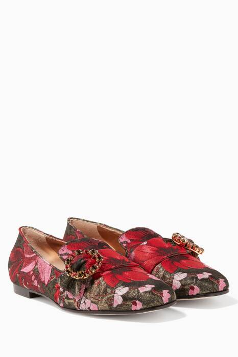 Red Jacquard Jeweled Brooch Jackie Loafers