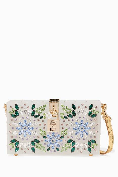 Multi-Coloured Plexy Embellished Box Clutch