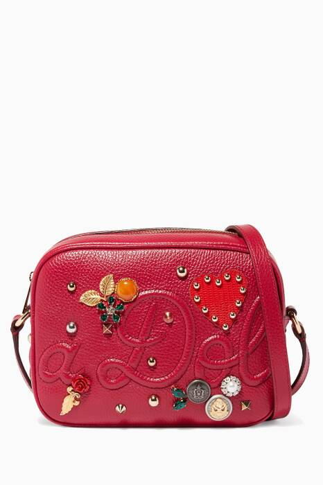 Pink Miss Glam Embellished Leather Shoulder Bag