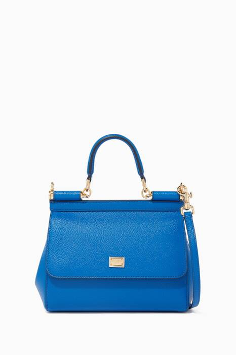 Blue Small Miss Sicily Dauphine Leather Bag