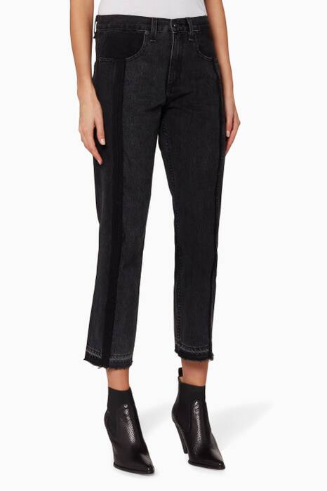 Black Two-tone Cropped Jeans