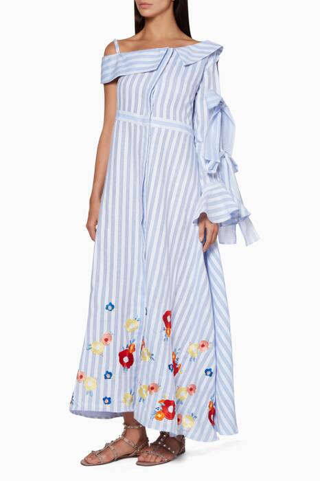 Blue Striped Knotted Sleeve Embroidered Shirt Dress
