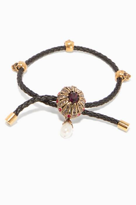 Black Leather Jewelled Friendship Bracelet