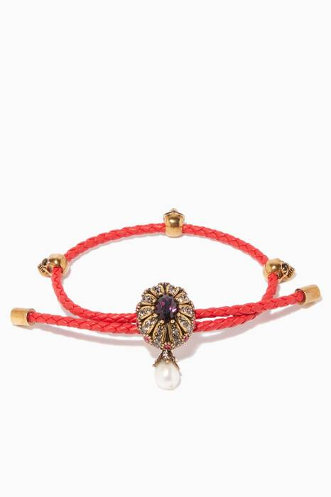 Red Leather Jewelled Friendship Bracelet