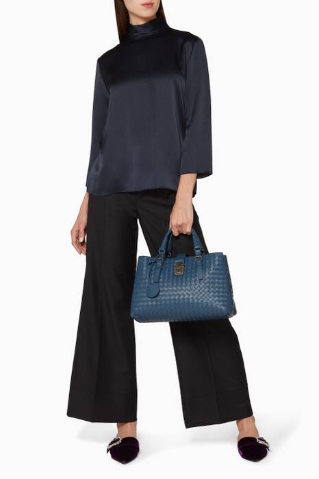 Blue Medium Roma Intrecciato Top Handle Bag