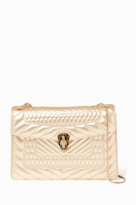 Gold Serpenti Forever Quilted Medium Shoulder Bag