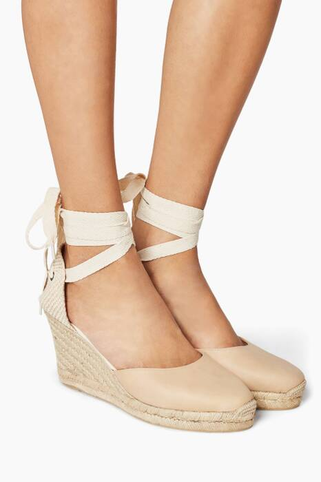 Nude Tall Wedge Sandals