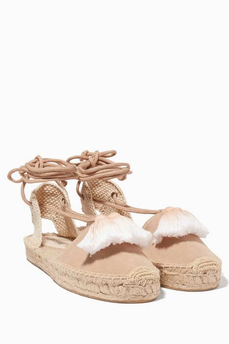 Cream Tassel Suede Platform Gladiator Sandals