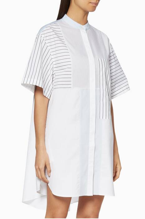 White Patchwork Shirtdress