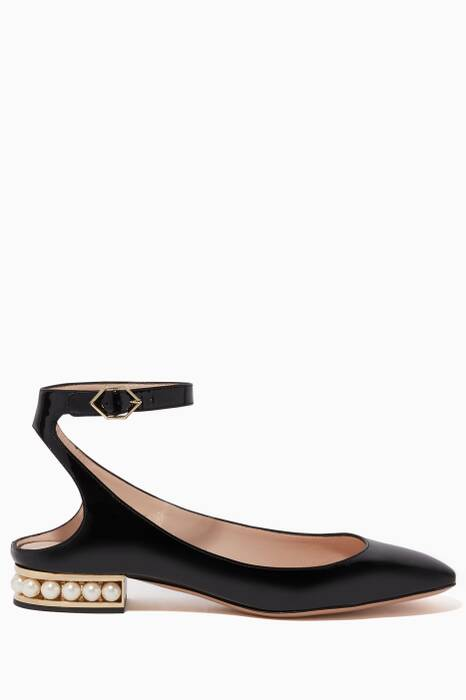Black Patent Leather Pearl Embellished Lola Ballerina Flats