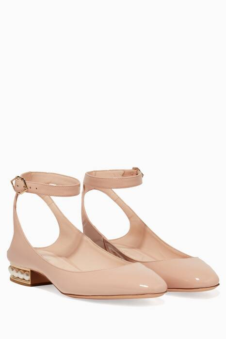 Nude-Pink Patent Leather Pearl Embellished Lola Ballerina Flats