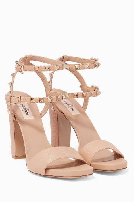 Beige Rockstud Grainy Leather Chunky Sandals