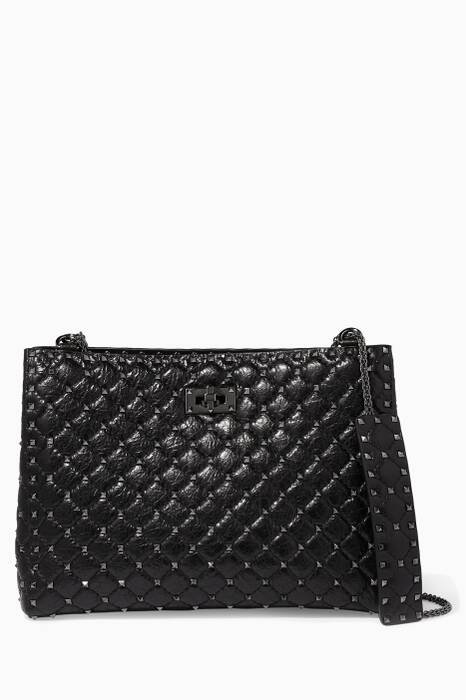 Black Rockstud Spike Tote Bag