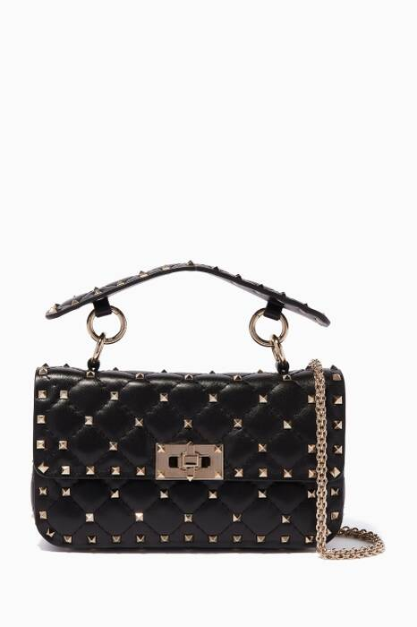Black Small Spike Stud Matelassé Shoulder Bag