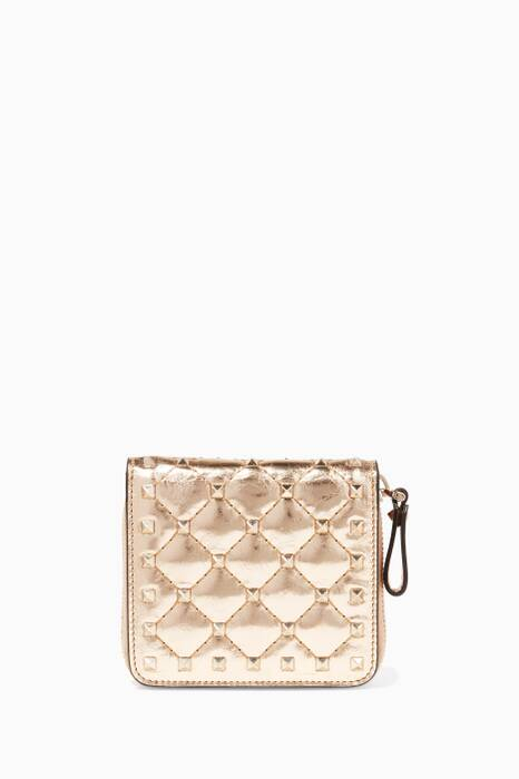 Gold Rockstud Spike Zip-around French Wallet