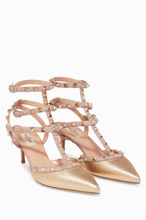 Gold Metallic Rockstud Pumps